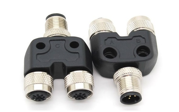 M pin one male to two female connector adapter y type